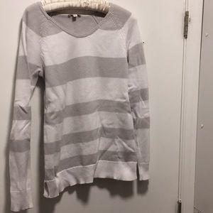 Gap Maternity light grey and white stripe sweater